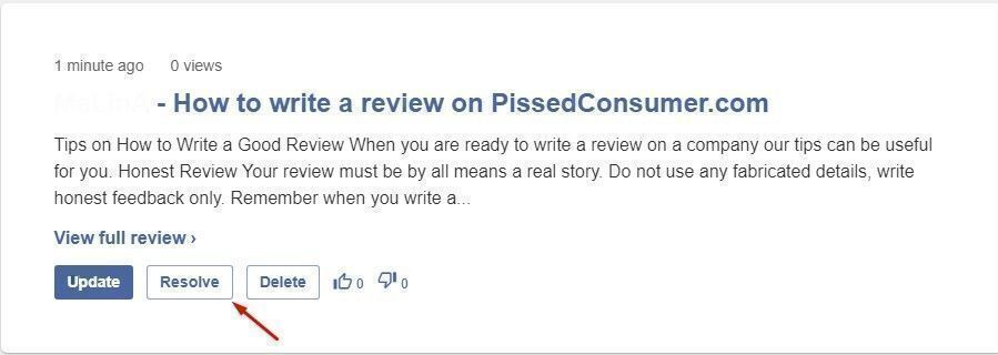 how to make a review on Pissedconsumer.com resolved