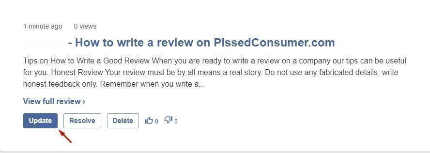 how to update a review on pissedconsumer.com