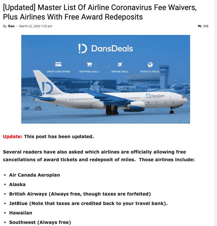 airlines coronavirus fee waivers