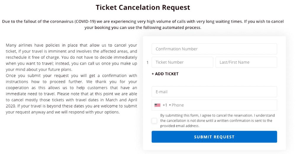 asap tickets cancellation request