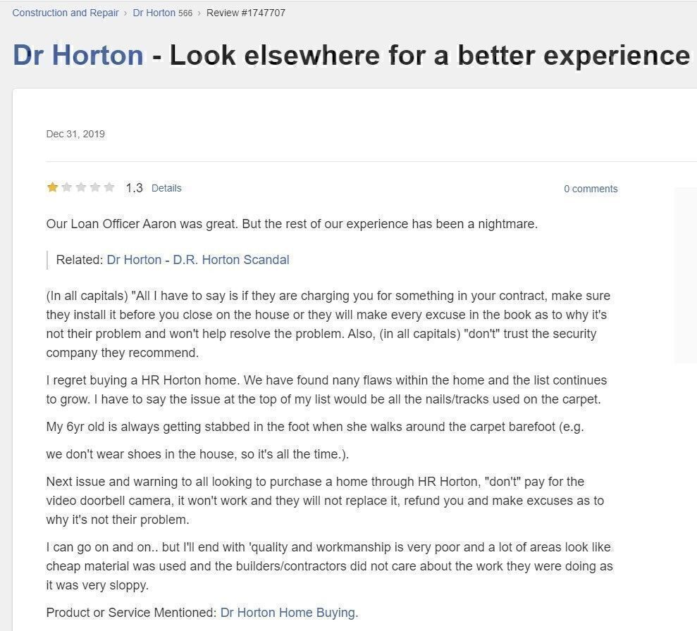 dr horton builder review