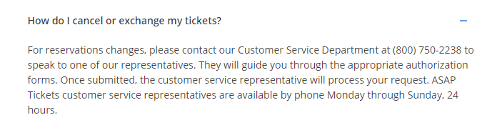 how to cancel asap tickets