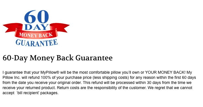 60 day MyPillow moneyback guarantee