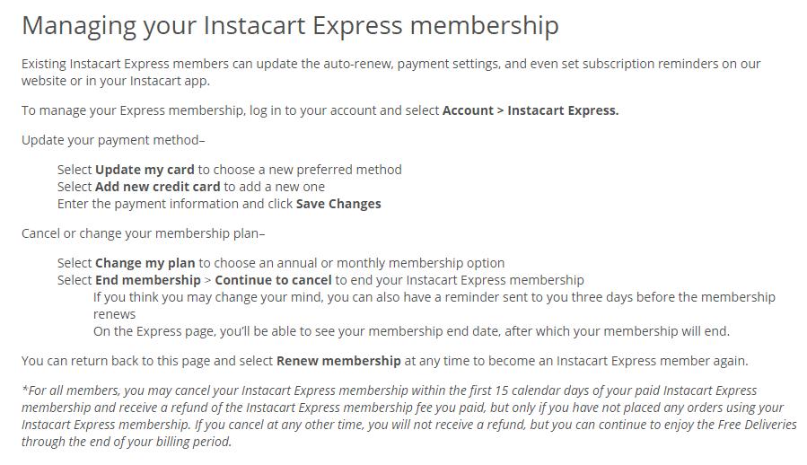 Instacart express membership