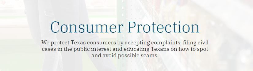 Consumer Protection Attorney General Texas