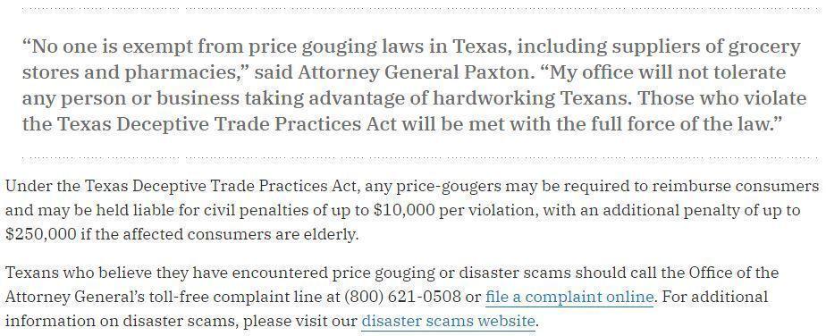 Texas Attorney General Price gouging case