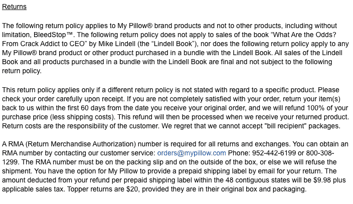mypillow return policy