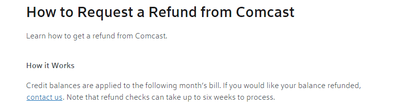 Comcast refund request