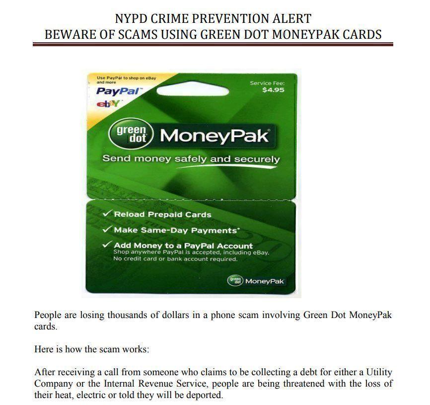 NYPD Green Dot Moneypack alert