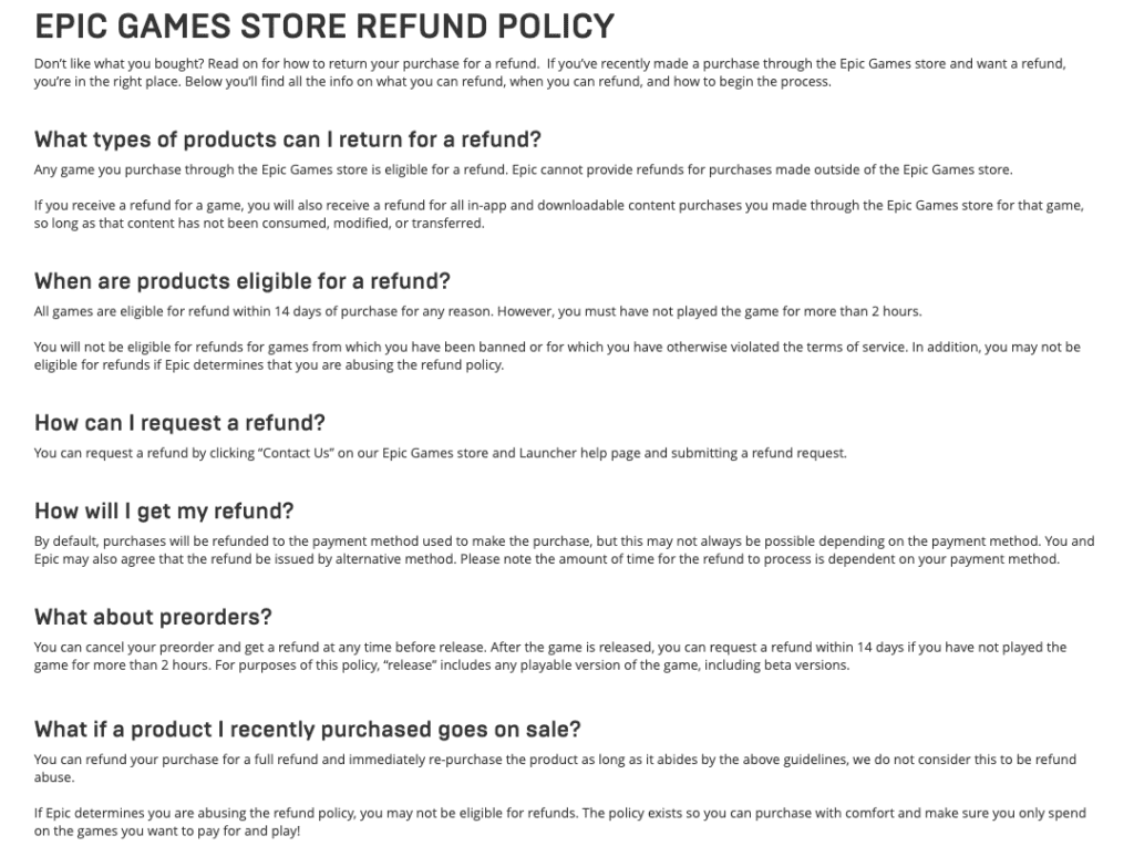 Epic games refund policy