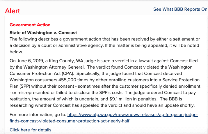 Comcast alert on BBB