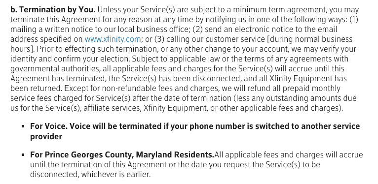 Xfinity cancellation policy