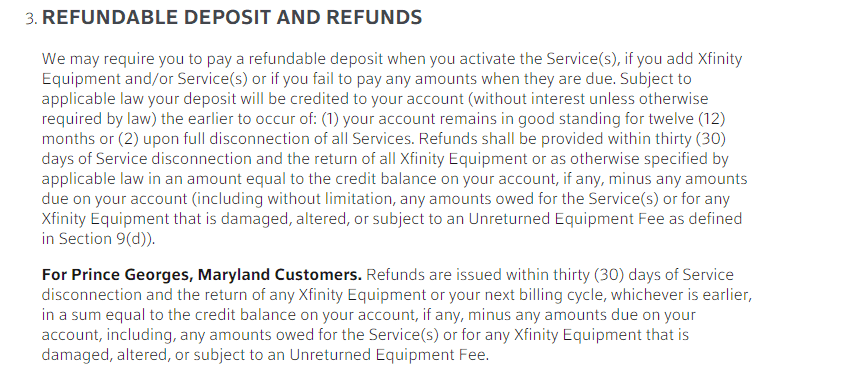 Xfinity deposits and refunds