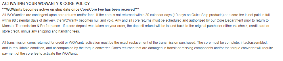 Monster transmission core policy