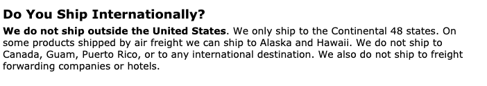 PartsGeek shipping terms
