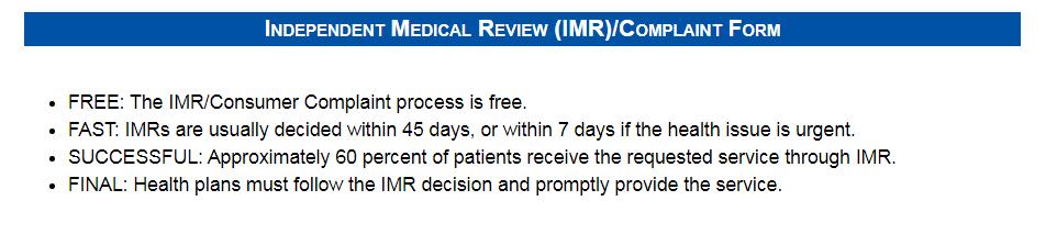 IMR complaint form