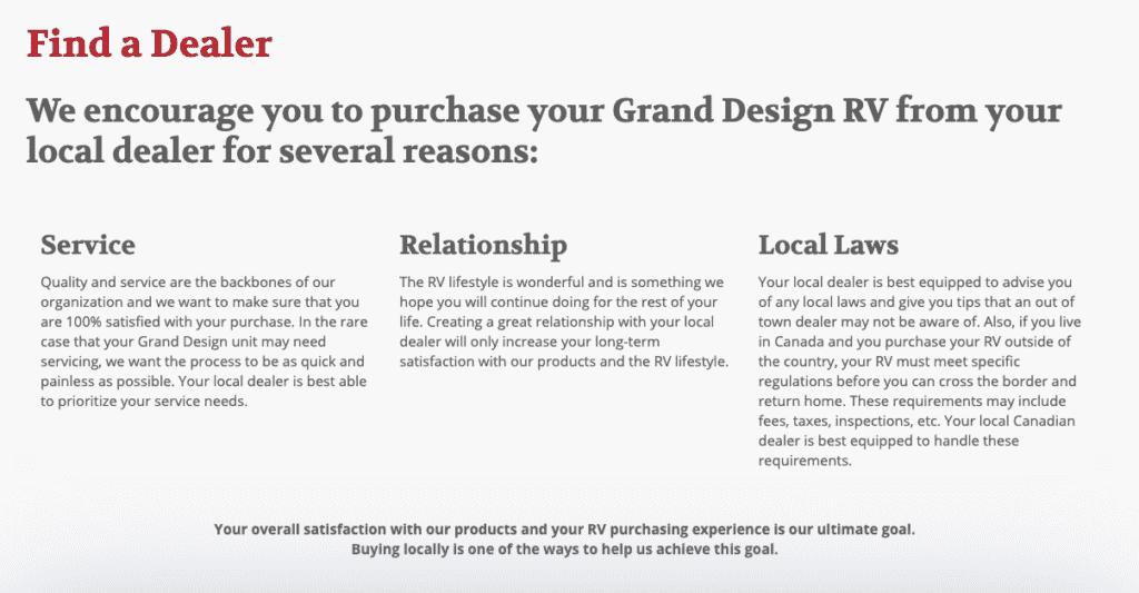 Grand Deisgn RV local dealer
