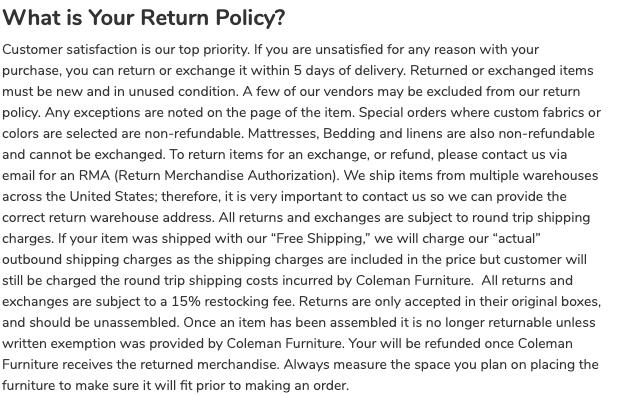 Coleman Furniture return policy