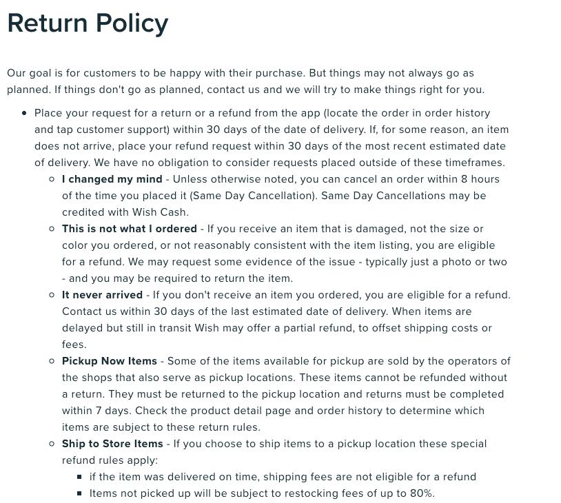 Wish return refund policy