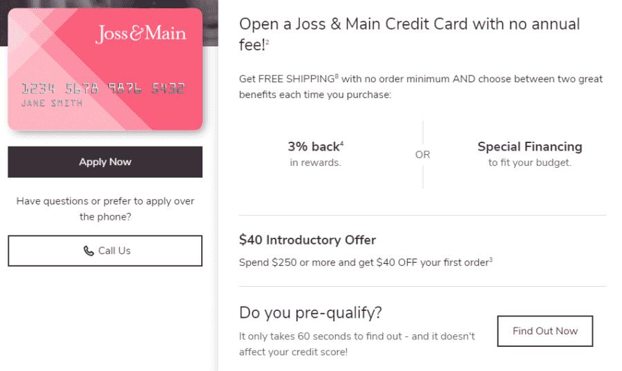Joss And Main credit card