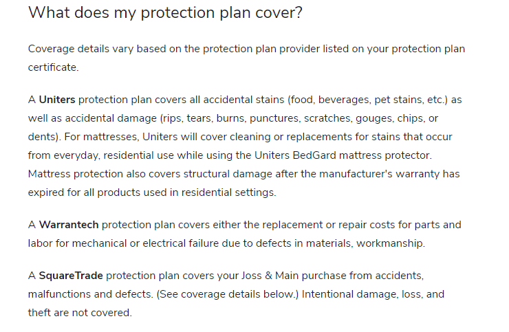 Joss And Main protection plans