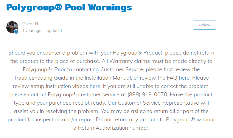 Polygroup warranty
