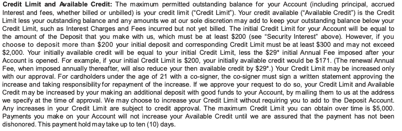 First Progress Credit Limit