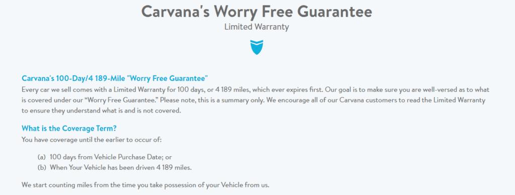Carvana warranty policy