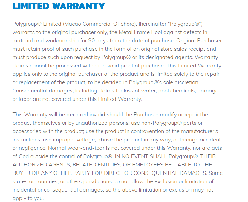Polygroup limited warranty