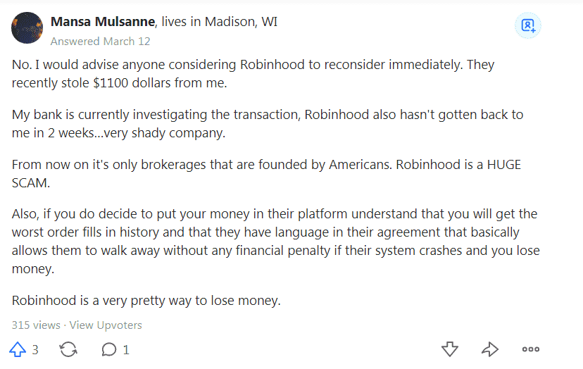 Quora answer on Robinhood