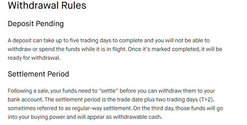 Robinhood withdrawal rules