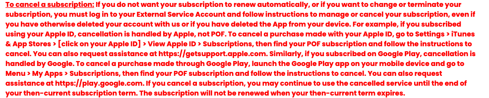 pof cancel subscription