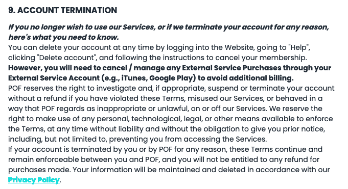 pof termination terms