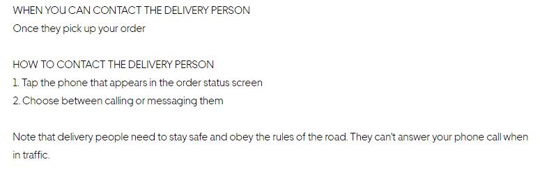 Contacting UberEats driver