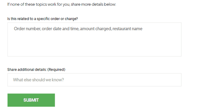 Uber Eats help question form