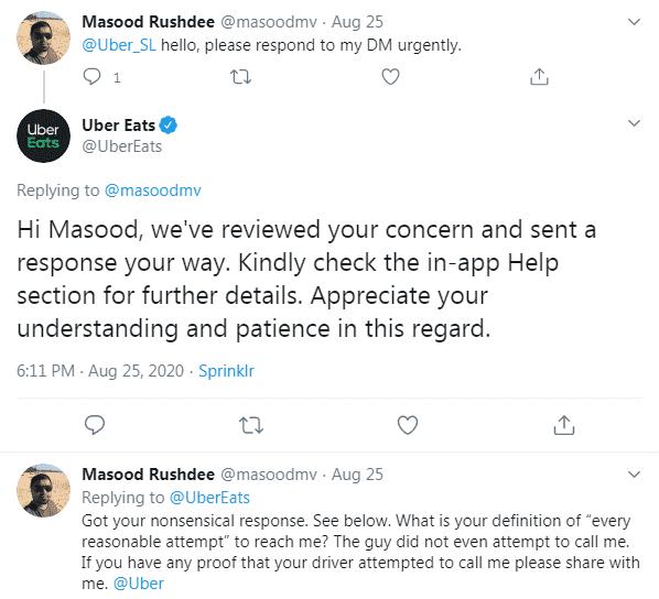 UberEats Twitter comment