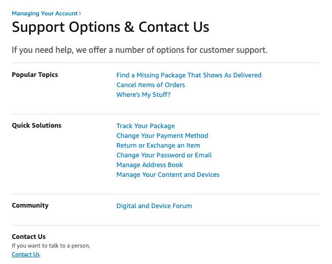 Amazon contact us