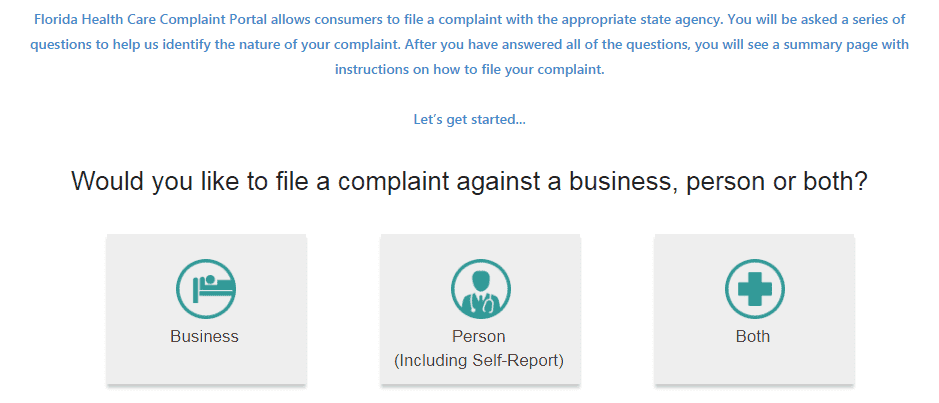 Florida health care complaint portal