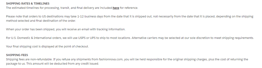 Fashion Nova shipping