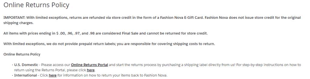 fashion nova online returns
