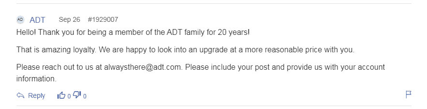 ADT customer support reply