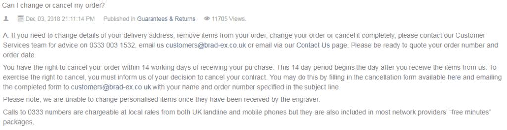 Bradford Exchange cancellation for the UK