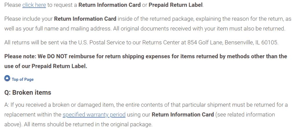 Bradford Exchange return items
