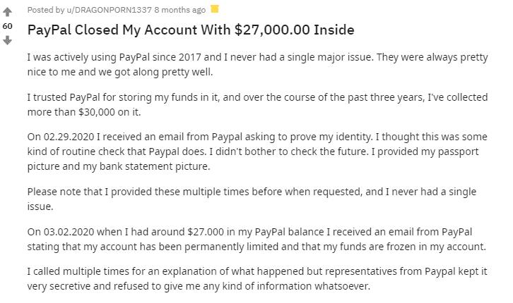 PayPal Reddit post