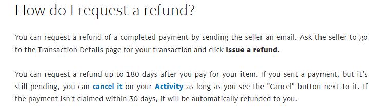 PayPal refund request