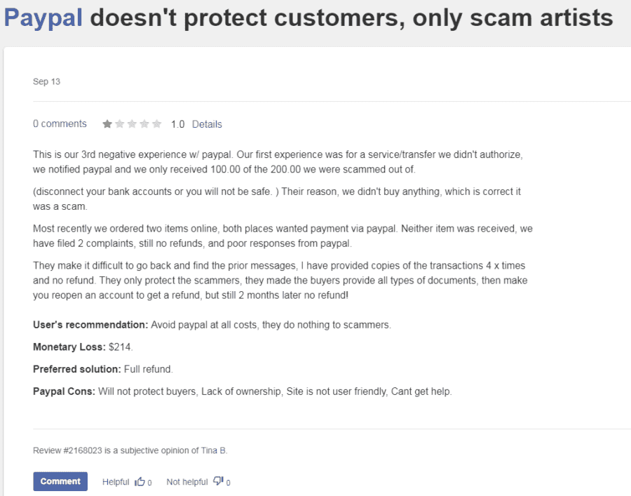 PayPal review about scam