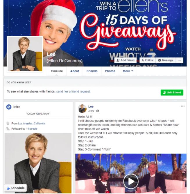 Social Media Christmas scam