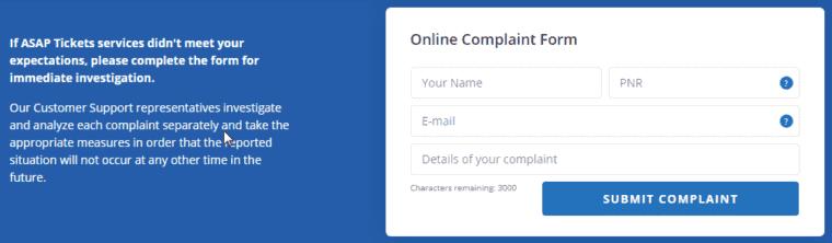 AsapTickets complaint form