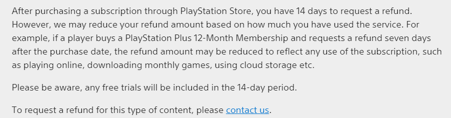 PlayStation refund subscription