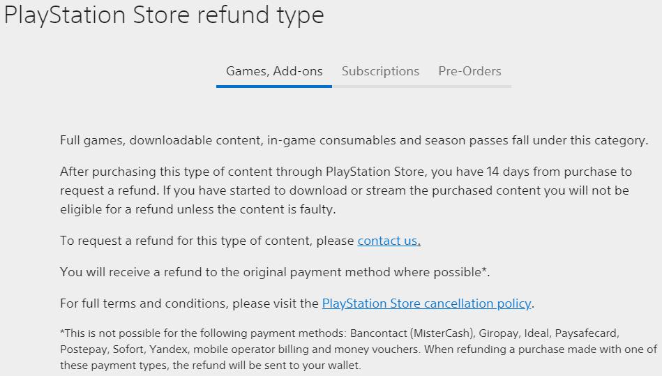 PlayStation refund type